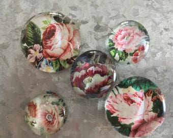 Roses in the Garden set of five Glass Magnets