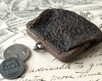 Tiny Vintage Coin Purse Shabby Leather Rusty Patina