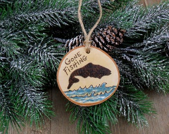 Gone Fishing Wood Burned Birch Slice Christmas Ornament Hand Burned Painted