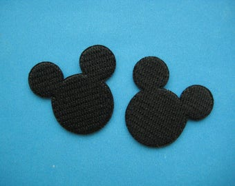 2 pcs Iron-on Embroidered Patch Mickey Mouse Shadow (Size: 1.5 inch or 2 inch)