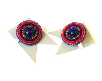 Bead embroidery Scrunchy 2 Ponytail Holder Mandala Flower Hair Elastic Rubber Band Hair Accessories Red Blue for girl
