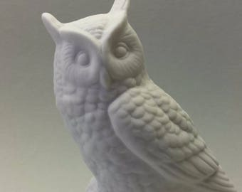 Porcelain Figurine White Owl Bisque Vintage Germany Perfect Condition