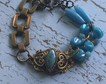 Upcycled vintage goldtone ring turquoise assemblage bracelet~mixed media beads chain assemblage