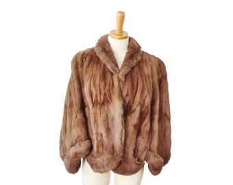 50% half off sale // Vintage 50s Evans Chicago Fur Coat Cape - Women S M - Glam, Brown, Fur Label Authority
