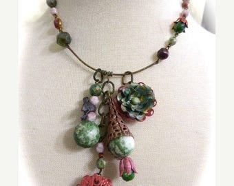 HUGE SALE Choker Style Verdigris and Coral,Handmade Chain and Beaded OOAKCharm Necklace, Layered Flowers
