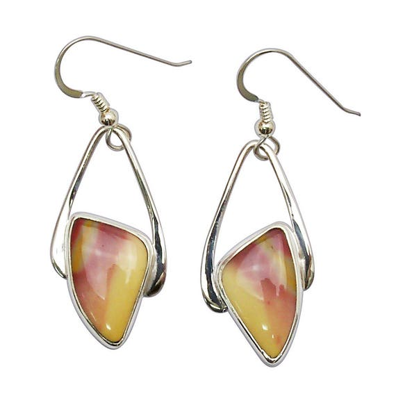 Mookaite Jasper and Sterling Silver Dangle Earrings  emktf2863