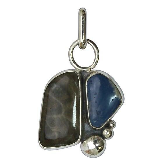 Petoskey Stone & Leland Bluestone Two Stone Pendant set in Sterling Silver  ppklbf2881