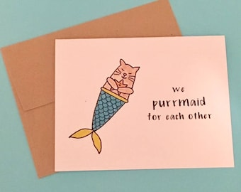 Cat Valentine - Cat Valentine Card - Cat Valentines Day Card - Cat Mermaid - Purrmaid - Valentine from Cat - Cat Lover Valentines - Cat Card