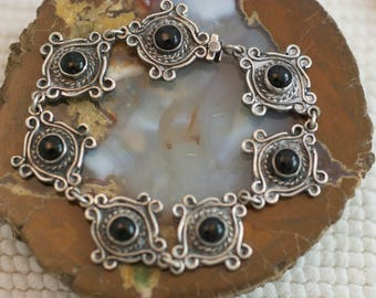 Vintage Sterling Silver Black Onyx Ornate Panel Bracelet  .....6379