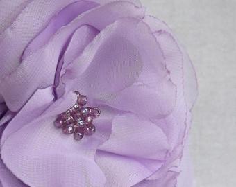 Flower Brooch in Lilac Satin & Chiffon