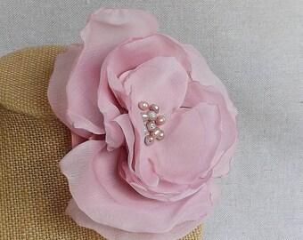 Flower Brooch in Rose Satin & Chiffon