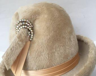 1960s Ivory Crushed Velvet Martelle Bucket Hat Rhinestone Adornment Vintage Millinery