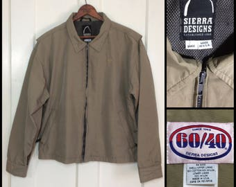 Sierra Designs tan beige olive green 60/40 zipper jacket size Large cotton nylon made in USA