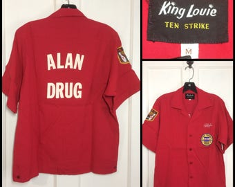 1960s rayon bowling shirt embroidered name Ralph size medium Alan Drug King Loui ten strike ABC Champion patches 1968 1969 red