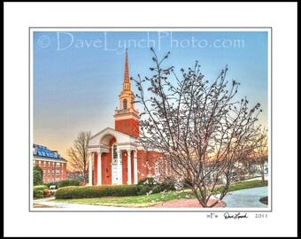 Lynchburg VA Virginia - Lynchburg College University - Snidow Chapel -In Black and White -Color- Sepia -Art Photography prints by Dave Lynch