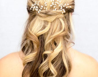 """Bridal Hair Acessories, Wedding Hair Accessories - """"Jessica"""" Pearl or Crystal Vine Hair Pin in Silver or Gold"""