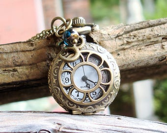 Women's Petite Sunflower Pocket Watch Necklace, Ohm Yoga Charm, Faceted Czech Glass Crystal,   C 8-7