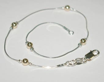 Sterling Silver 925 Chain and 14kt Gold Filled 4mm Seamless Beads Two Tone BRACELET / ANKLET - Made to your size - Free Shipping Worldwide