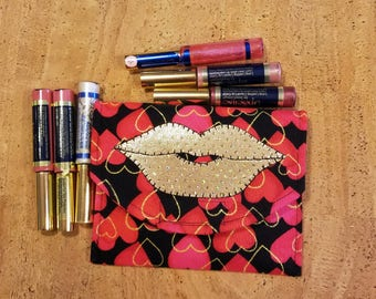 LipSence, Lipstick, lip gloss pouch, holder, black pattern, pink, red & gold hearts, gold lips, 6 elastic slots,  down line gift