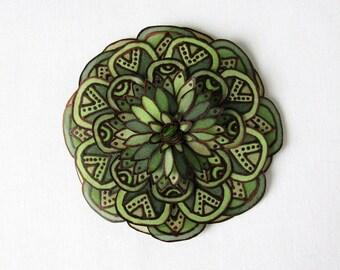 Forest green silk flower brooch - dark green and brown - statement brooch - hand painted silk flower brooch