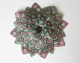 Muted green and mauve silk flower brooch - big silk flower brooch - statement brooch - hand painted natural silk flower brooch