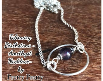 February Birthstone -Amethyst - Sterling Silver Necklace