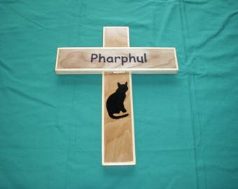 Pet cat memorial cross wall hanging personalized handcrafted in USA