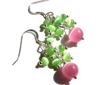 Pink and green, cluster earrings, cats eyes beads, 1.5 inches long