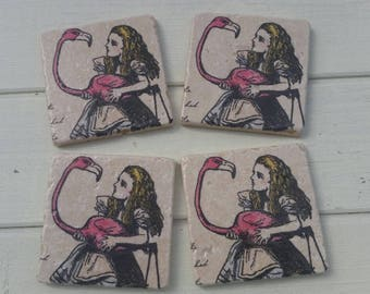 Alice and Flamingo Coaster Set of 4 Tea Coffee Beer Coasters
