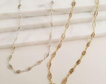 Filigree Chain Choker, Dainty Necklace, Tattoo Choker Necklace, Gold Chain Choker, Silver Chain Choker,  Gold Oval Heart Choker, Bold Choker