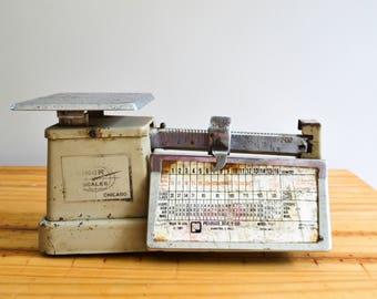 Vintage Industrial Post Office Postage Metal Balance Scale