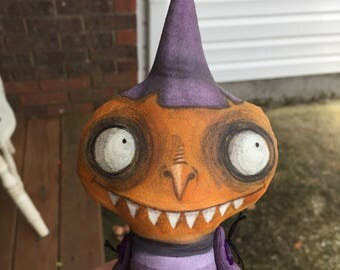 OOAK Handmade Lowbrow Goth Halloween Witch Art Doll Creepy Cute With Striped Pajamas and Big Eyes and Big Smile Tim Burton Style Pumpkin JOL