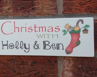 Personalized christmas wooden sign plaque names couples family name shabby chic