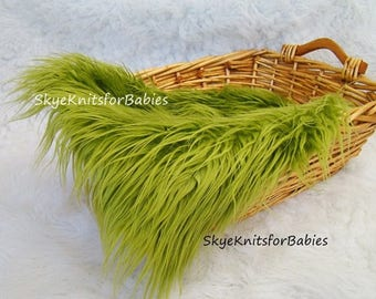 Mongolian Faux Fur Long Pile Fabric Prop, Olive Green, Newborn Photo Prop, Faux Fur Prop, Basket Filler, Backdrop, Prop Fur, Basket Stuffer