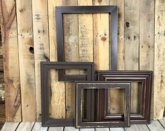 ON SALE - Espresso Picture Frame Set of 4 , Rustic Set, 8x8, 8x10, 9x12, 11x14, Photo Frame, Gallery Frame Set, Lot 241