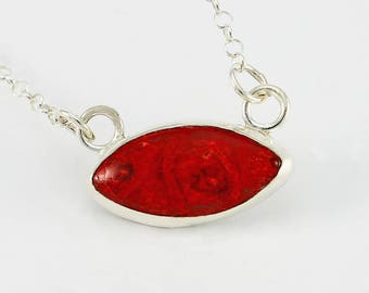 Red Sponge Coral and Handcrafted Sterling Silver Pendant/Necklace Minimalist Contemporary One of a Kind Artisan Jewelry Design 2984647121017