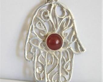 Hand of Hamsa pendant. Sterling silver Hamsa pendant. Carnelian cabochon