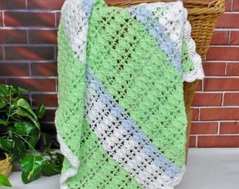 SALE Baby Blanket Boy Colors Handmade Crochet Afghan , Green White Blue Knitted Blanket, Baby Shower Gift