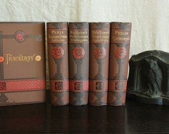 5 Antique Volumes Thackeray's Complete Works Beautiful Gilt Illustrated 1881