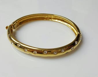 Nolan Miller Rhinestone Hinged bangle  Bracelet Wedding Ready