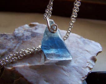 Natural Blue Fluorite Gemstone Crystal Pendant