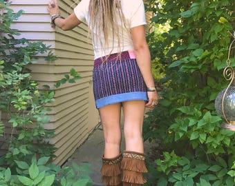 eco Mini SKIRT,Size S/M,Eco skirt,hippie mini skirt, festival clothing,patchwork mini skirt,tube skirt, corduroy skirt, floral skirt , Zasra