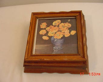 Vintage Hinged Lid Wood Jewelry Or Trinket Box With Poppy Flowers And Mirror  17 - 992