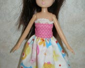"""Handmade 7"""" doll clothes for Lottie - pink, yellow, blue and white print dress"""