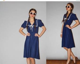 On SALE 35% Off - Vintage 1980s Nautical Bib Sailor Navy Dress - 80s Nautical Dress  - 80s  Sailor Dresses - WDO916