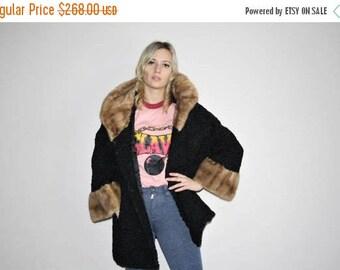 FLASH SALE - Persian Lamb 1960s Vintage Black Wool Mod Long Fur Collar and Cuff Coat - 1960s Fur Coats - 60s Clothing - WV0058