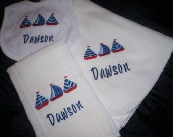 Boat baby blanket etsy sailboats personalized baby gift sailing baby bib boat baby boy nautical baby gift negle Gallery