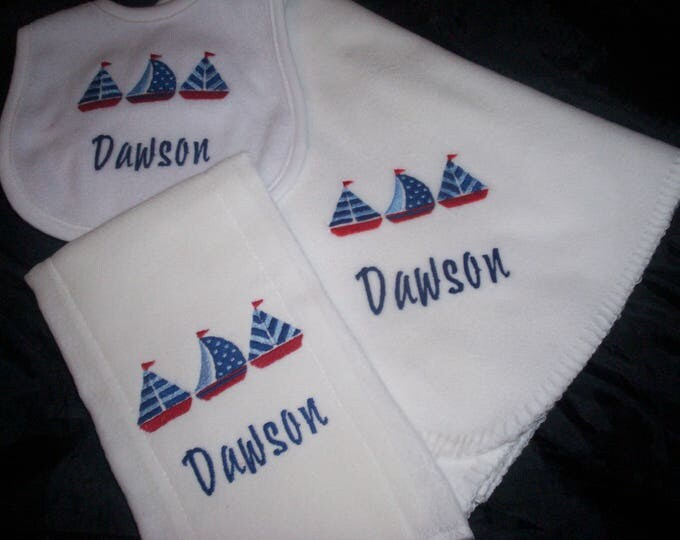 Sailboats Personalized baby gift -  Sailing baby bib -  Boat baby boy - Nautical baby gift set - Monogrammed nautical shower gift -  Blanket