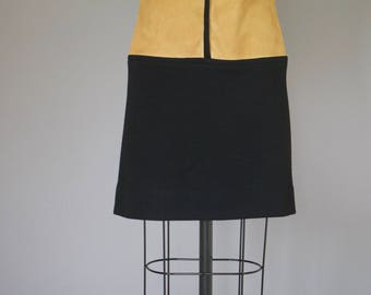 Vintage 1960s Dress / MOD Dress / Mini Dress 60s Dress / Suede Dress Leather Dress Brown Black Dress / Cocktail Party S M