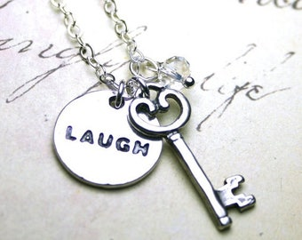 ON SALE Laugh Out Loud Necklace - Laughter is the Key to Life Necklace - Swarovski Crystal and Sterling Silver